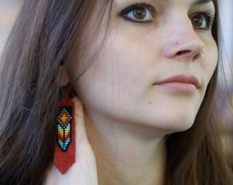"""Earrings beaded """"Indian flower"""". Native American Beadwork."""