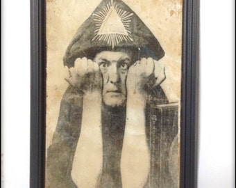 Aleister Crowley hand aged reproduction print in frame.