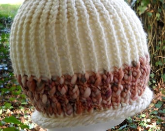 Knitted Toboggan Hat in Two Textures