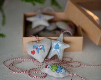 Fabric Christmas Ornaments | Rustic Christmas Ornaments | Rustic Home Decor | Country House Decor