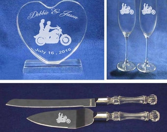Biker wedding, Motorcycle wedding, cake topper glasses and knife set personalized engraved