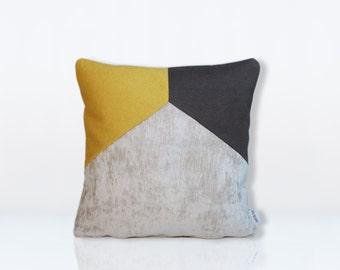 cushion calvi yellow mustard & grey anthracite 40x40cm