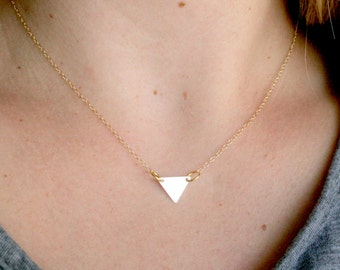 Gold Triangle Necklace, Gold Triangle Charm Necklace, Simple Modern, Minimalist Jewelry Gold Filled, Bridesmaid Gift Wedding Graduation Love