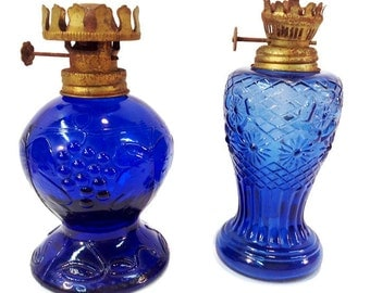 2 Charming Vintage Cobalt Blue Oil Lanterns, mismatched Shabby Chic, rusty burners