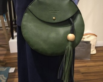 Circle Dark Green Vegan Leather Shoulder Bag/Tassels/Wood Ball