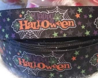 "3 yards, 7/8"" happy Halloween grosgrain ribbon"