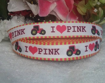 "3 yards, 7/8"" I love pink with tractor design grosgrain ribbon"