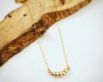 Gold Necklace, Gold Jewelry, Tiny gold necklace. Simple gold necklace. Gold Necklace Delicate, Gold Bead Necklace