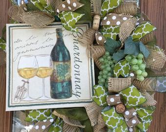 Wine Wreath, Grape Wreath, Wine Deco Mesh Wreath, Wine Decor, Kitchen Wreath, Everyday Wreath, Year Round Wreath, Wine Cork Wreath