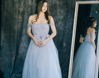 """Wedding dress """"Ocean""""   Blue grey soft off the shoulder tulle bridal gown non traditional colored open shoulder corset bluish gray a-line"""