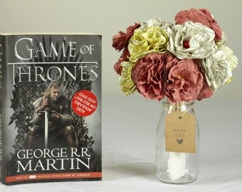 Handmade Paper Bouquet Made from a Second Hand copy of Game of Thrones. House Lannister themed