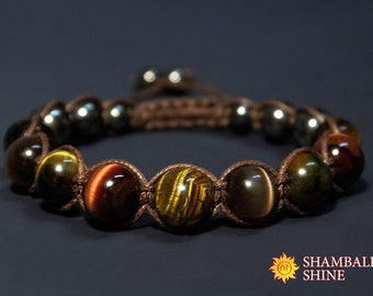 Healing Beads Bracelet Tiger eye macrame Bracelet Brown Stone Hawk Eye gemstone Brown cord bracelet Brown cat eye Unisex woven bracelet