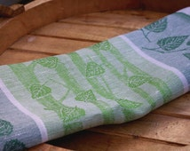 Kitchen Linen towels Washcloth Natural Birch leaf Jacquard Linen Tea Bright Green Kitchen linens Heavy Natural Burlap Cotton Towels Home