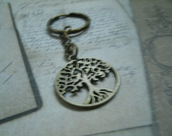 Necklace - Keychain - Earrings in bronze metal - circle tree