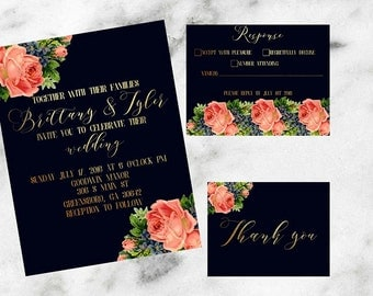 Navy, Gold, and Floral Wedding Set