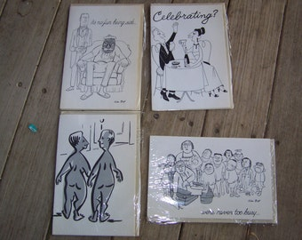 4 NOS Illustrated Greeting Cards