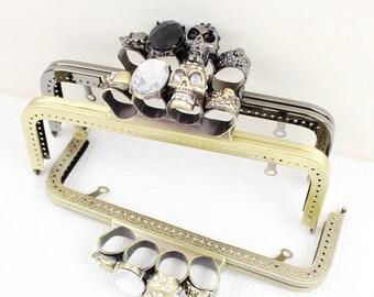 Bronze / Black Right Angle Hoop w/ Holes ,Handle w/ Metal Skull, 20cm / 25cm, 1 PCS, D095