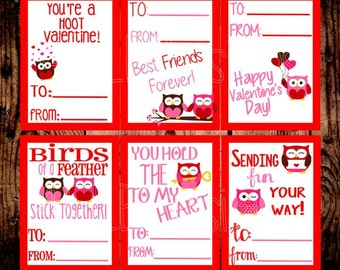 Kid's Valentine's Day Cards- INSTANT DOWNLOAD- Valentine's Day Cards- Valentine's- Kid's Valentines- Print Your Own