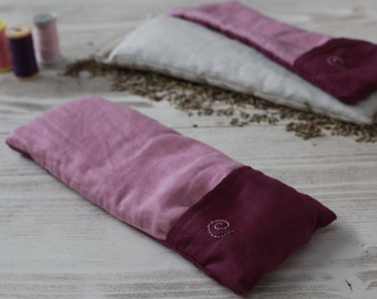 Yoga Savasana Eye Pillow with Removable and Washable Cover, Lavender and Flax Seed Filling, Pink&Purple Color