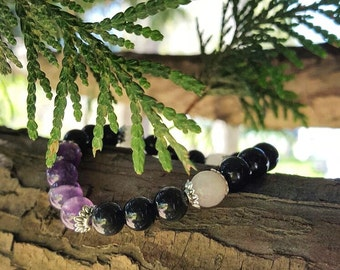 Obsidian, Rose Quartz and Amethyst Bracelet
