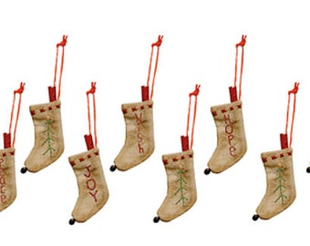 Vintage Stitched Stocking Ornament Set Winter Christmas Holiday Tree Decoration