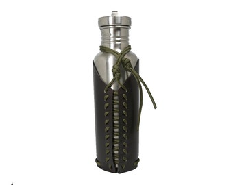 Leather Water Bottle Holder • Survival Paracord Bottle Holster for Klean Kanteen, hiking, camping, EDC, survival, runners, jogging • BTL-100