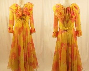 1970's Sarmi Gown/Designer Vintage Gown/Silk Chiffon Print