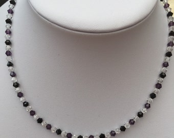 Plum, black and clear crystal necklace