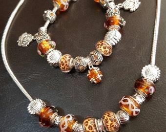 Pandora like necklace and bracelet set