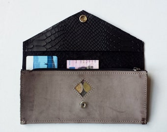 leather wallet with look through old pink/black