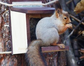 Suspended Wooden Squirrel Feeder, Modern Squirrel Seed Holder, Hanging Squirrel Holder