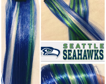"SEATTLE SEAHAWKS 18"" Clip-In Hair Extension Set - 4 PIECES!"