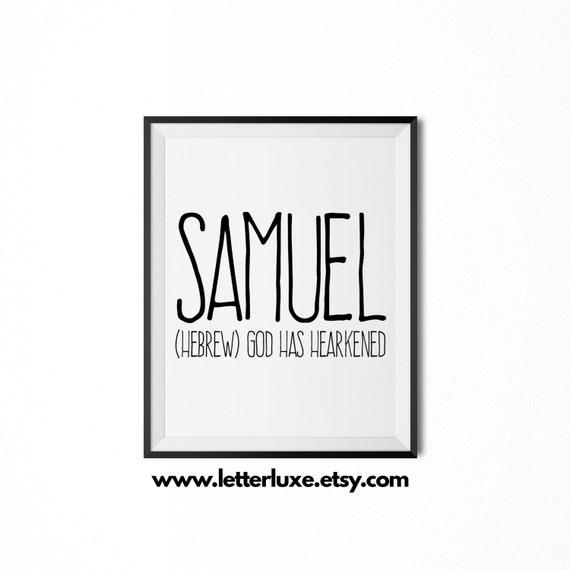 Samuel Name Meaning Art Printable Baby Shower Gift Nursery