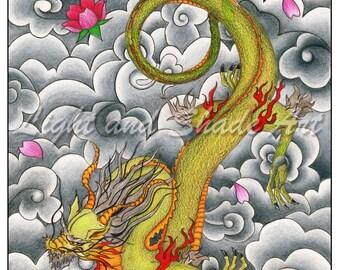 9x12in. - Dragon - Colored Pencil Print