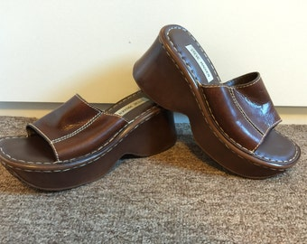 Steve Madden Brown Leather Chunky Platform Sandals Size 8.5