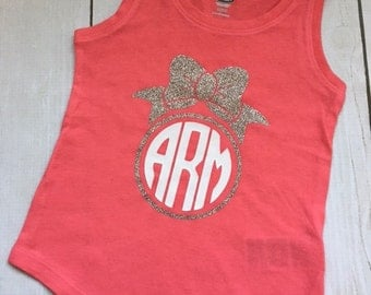 Coral Monogrammed Glitter Bow Tank Top