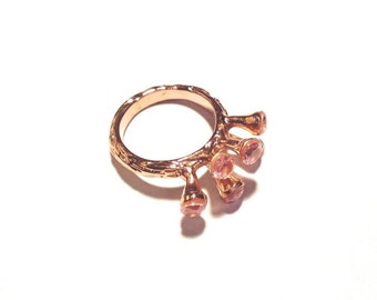 Rose Gold Band with 5 Delicate Misty Rose Pink Crystal Stones. Classically Elegant Rings. Subdued Sophistication. Day to Evening Jewelry.