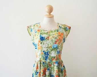 20% OFF - 1980s Watercolour Floral Sweetheart Sleeveless Dress / Japanese Vintage / small medium s m / uk 8 10