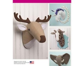 Sewing Pattern for Plush Stuffed Animal Heads, Simplicity 1218, Wall Mounted Stuffed Animal Heads,