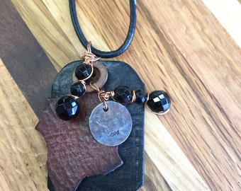 Leather and metal necklace #41