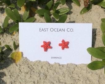Coral Starfish Earring Studs Beach Jewelry Small Studs