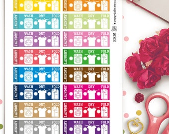 Laundry Checklist Planner Stickers |  Erin Condren ECLP Life Planner | Fold | Dry | Hanging | Chores | Washing | Laundry Stickers