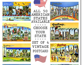 Vintage Missouri Postcard, #3 M-N, Set of 4, CHOOSE Your Favorite USA State, Group Three M-N, Postcards of the United States