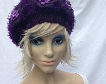 Handmade acryl hat beret purple with flowers