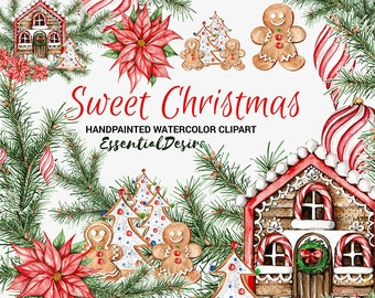 Christmas Clipart, DIY Invite clipart, Watercolor Clipart Gingerbread, Hand Painted, Stickers Illustration, Xmas Baubles, Christmas Graphics