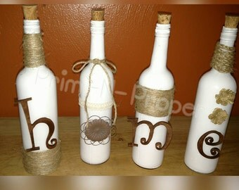 Homemade Hand-painted Wine Bottle décor