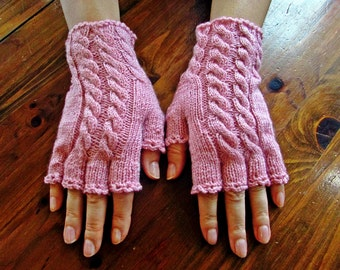 Handmade Knitted Half-Fingered Fingerless Gloves, Pink Heather Cabled