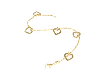 14K Gold Filled Bracelet/Yellow Gold Filled Charm Bracelet/Hearts Bracelet/FREE USA SHIPPING