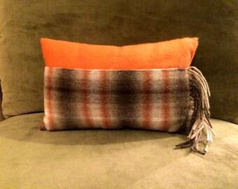 Burnt Orange & Plaid Cashmere Pillow
