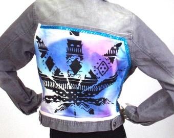 Gray jean jacket ASKustom4U Reason Canabis